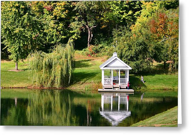 Willow Lake Greeting Cards - Gazebo Reflection Greeting Card by Kristin Elmquist