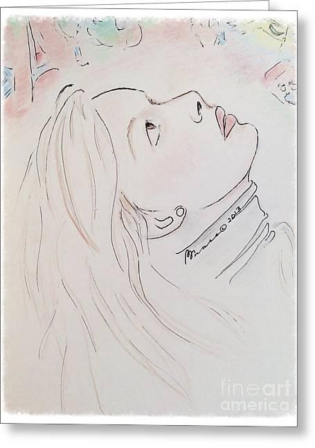 Pondering Drawings Greeting Cards - Gazing Up at Chagall  Greeting Card by Barbara Chase