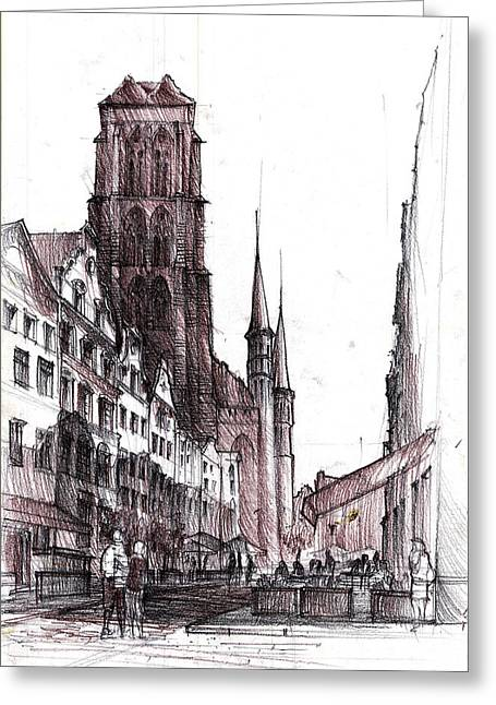 Medieval Temple Drawings Greeting Cards - Gdansk Saint Marys Church Greeting Card by Krystian  Wozniak
