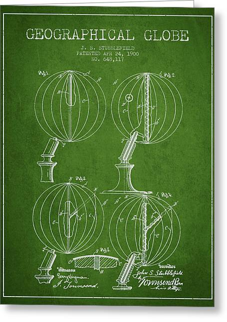Geaographical Globe Patent From 1900 - Green Greeting Card by Aged Pixel