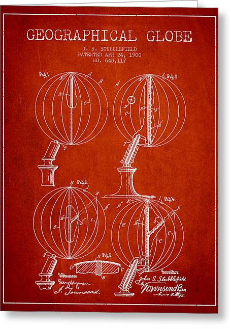 Geaographical Globe Patent From 1900 - Red Greeting Card by Aged Pixel