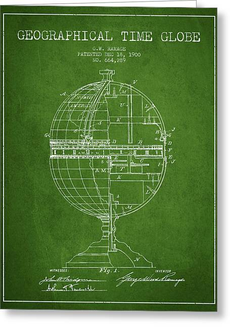 Geaographical Time Globe Patent From 1900 - Green Greeting Card by Aged Pixel