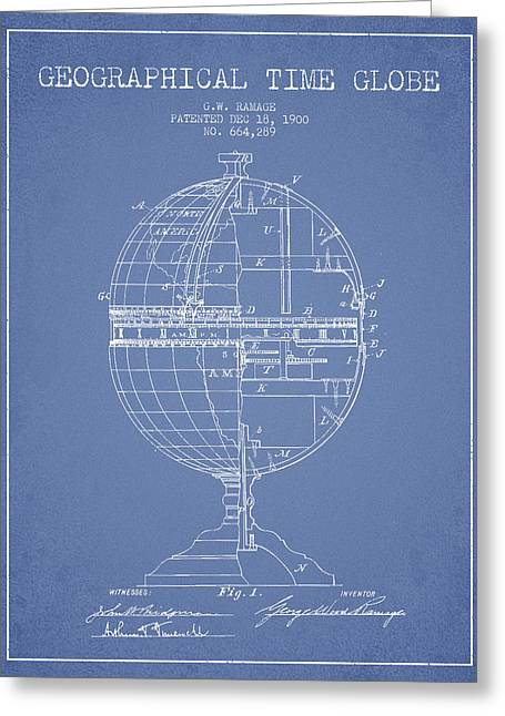 Geaographical Time Globe Patent From 1900 - Light Blue Greeting Card by Aged Pixel
