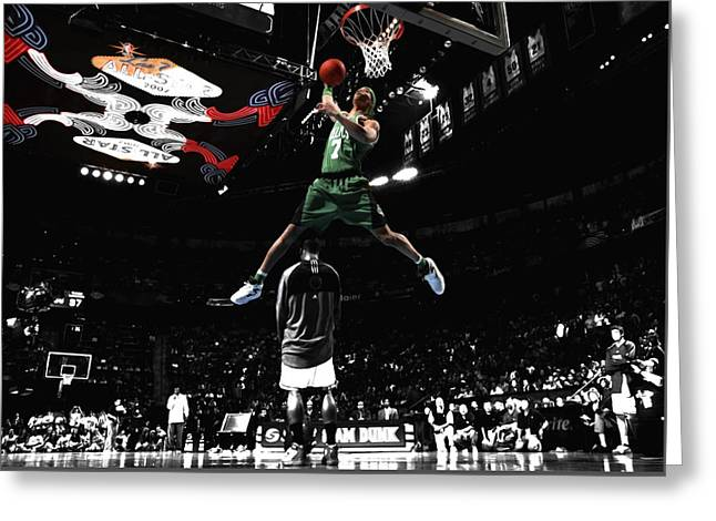 Slam Dunk Mixed Media Greeting Cards - Gearld Green Took Flight Greeting Card by Brian Reaves