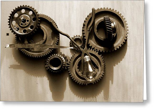 Gear Pyrography Greeting Cards - Gears IV Greeting Card by Jan Brieger-Scranton