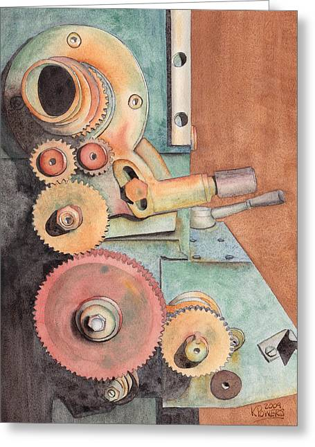 Gear Paintings Greeting Cards - Gears Greeting Card by Ken Powers