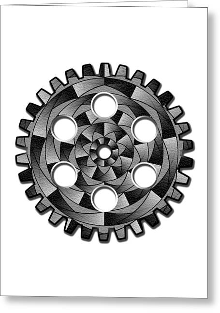 Cog Greeting Cards - Gearwheel in black and white Greeting Card by Gaspar Avila