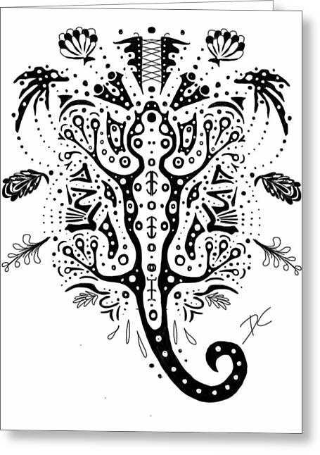 Gecko Illustration Greeting Cards - Gecko doodle Greeting Card by Darren Cannell