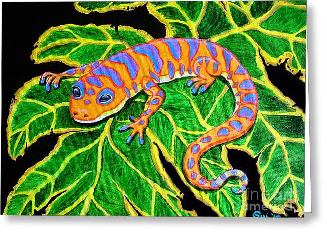 Gecko Hanging On Greeting Card by Nick Gustafson