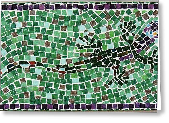 Mosaic Ceramics Greeting Cards - Gecko Greeting Card by Jamie Frier