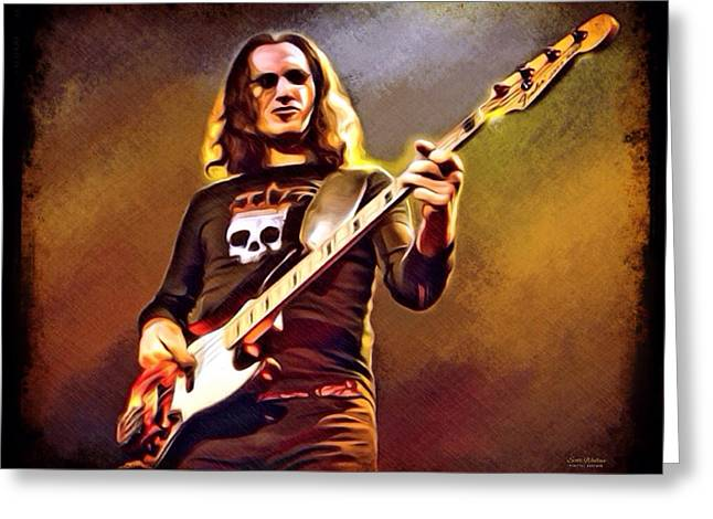 The Concert Of Angels Greeting Cards - Geddy Lee Portrait Greeting Card by Scott Wallace