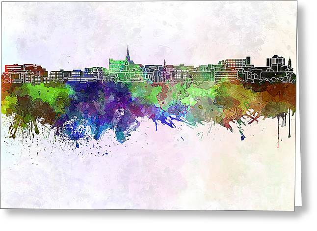 Geelong Skyline In Watercolor Background Greeting Card by Pablo Romero