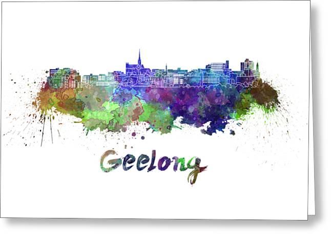 Geelong Skyline In Watercolor Greeting Card by Pablo Romero