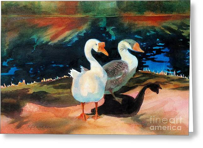 Geese At Riverside Greeting Card by Kathy Braud