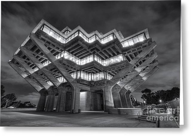 Eddie Yerkish Greeting Cards - Geisel Library in Black and White Greeting Card by Eddie Yerkish