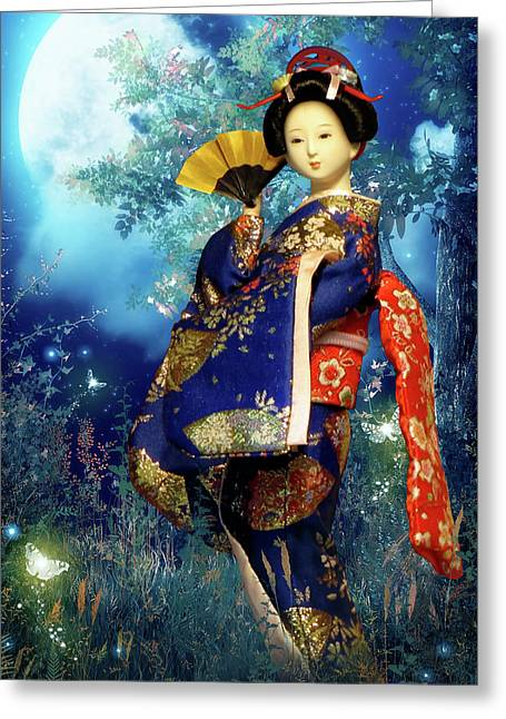 Mystic Greeting Cards - Geisha - Combining innocence and Sophistication Greeting Card by Christine Till