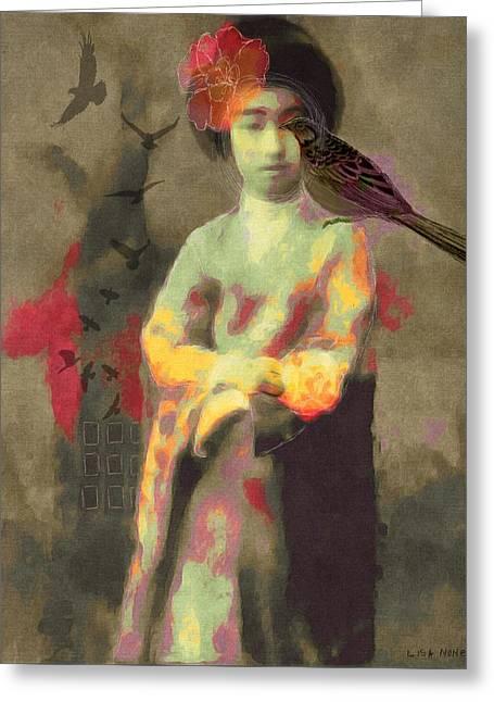 Geisha Girl Greeting Card by Lisa Noneman