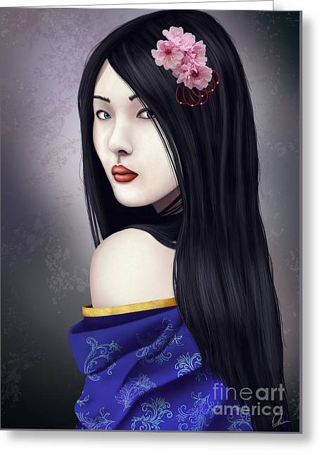 Character Portraits Greeting Cards - Geisha Greeting Card by Gosia K