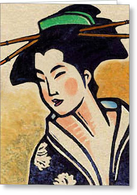 Block Print Paintings Greeting Cards - Geisha Indigo Kimono Greeting Card by Shawn Shea