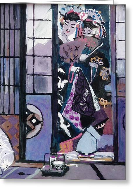 Japanese Glass Art Greeting Cards - Geisha  Greeting Card by Mama Jo Gonzaque