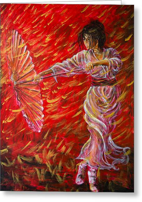 Geisha Greeting Cards - Geisha - Rain Dance 02 Greeting Card by Nik Helbig