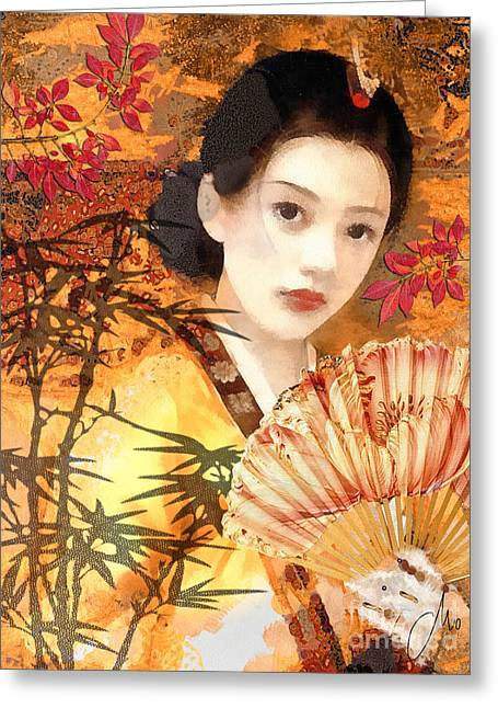 Jewels Digital Greeting Cards - Geisha with Fan Greeting Card by Mo T