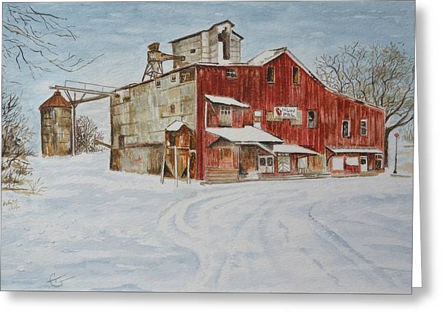 Old Feed Mills Paintings Greeting Cards - New Palestine Elevator Greeting Card by Traci Goebel