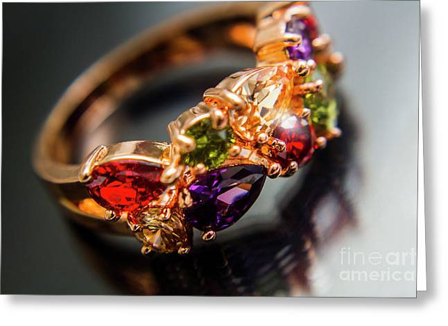 Gem Fashion Rings Greeting Card by Jorgo Photography - Wall Art Gallery