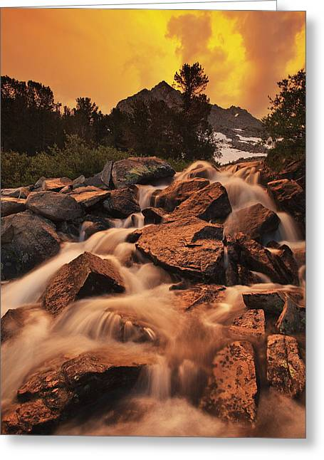 Little Lakes Valley Greeting Cards - Gem Lakes Cascade Sunset Greeting Card by Nolan Nitschke