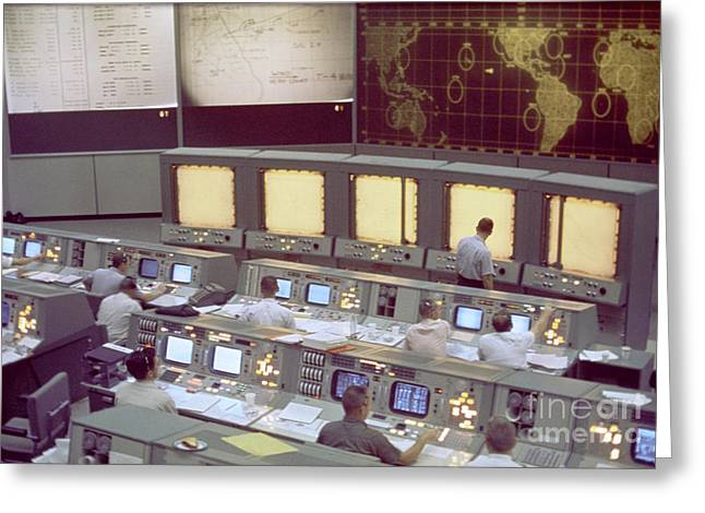Mcc Greeting Cards - Gemini Mission Control Greeting Card by Nasa/Science Source