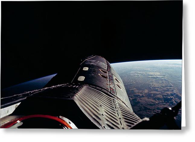Edwin A Greeting Cards - GEMINI12 Shuttle Mission  Astronaut Edwin E Aldrin Jr pilot took this picture in space Greeting Card by R Muirhead Art