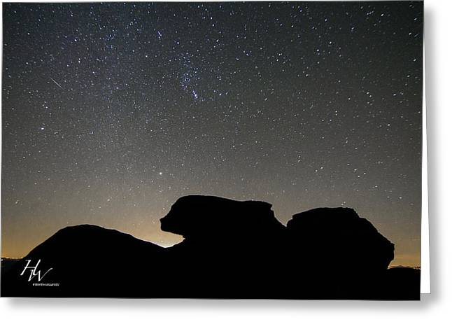 Geminid Meteor Shower At Beacon Heights Greeting Card by Hunter Ward