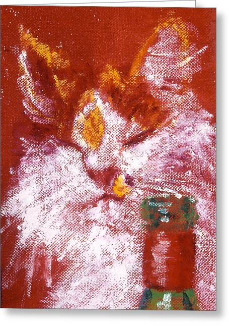 Red Cat Wine Greeting Cards - Gemma with Wine Greeting Card by LB Zaftig