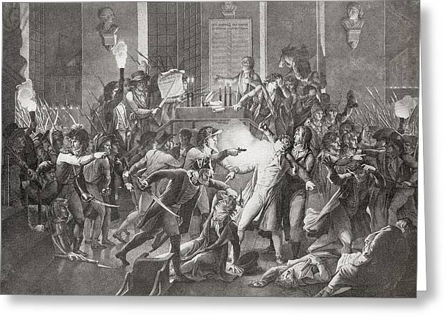 Convention Drawings Greeting Cards - Gendarme Merda Shooting At Robespierre Greeting Card by Vintage Design Pics