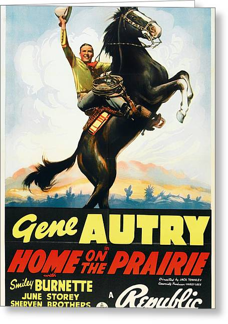 Autry Greeting Cards - Gene Autry in Home on the Prairie 1939 Greeting Card by Mountain Dreams