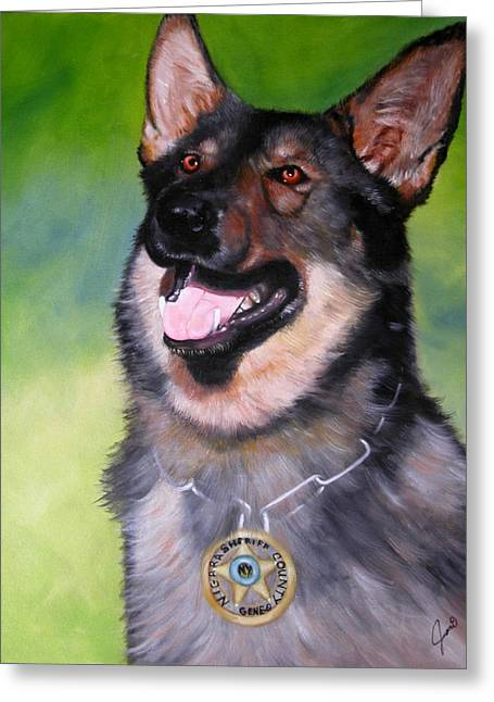 Law Enforcement Paintings Greeting Cards - Gene-o Greeting Card by Joni McPherson