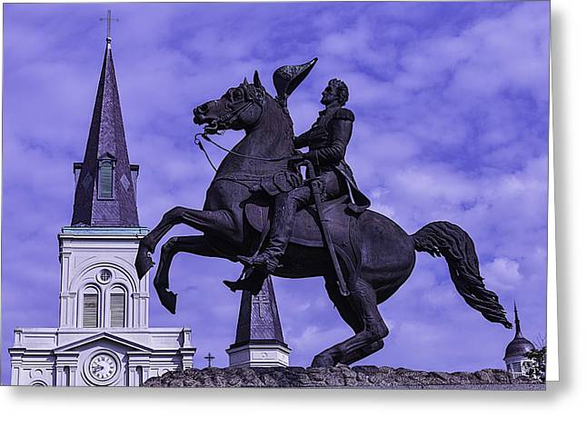 St. Louis Cathedral Greeting Cards - General Andrew Jackson Stature Greeting Card by Garry Gay