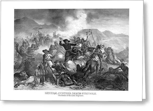 American Civil War Drawings Greeting Cards - General Custers Death Struggle  Greeting Card by War Is Hell Store