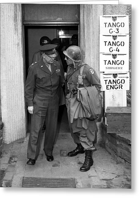Stored Photographs Greeting Cards - General Eisenhower and General Ridgway  Greeting Card by War Is Hell Store