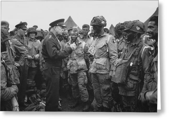 Army Photographs Greeting Cards - General Eisenhower on D-Day  Greeting Card by War Is Hell Store