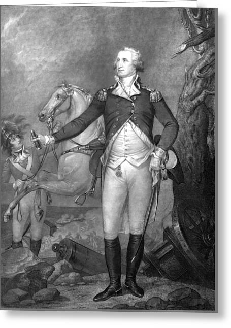 Us History Drawings Greeting Cards - General George Washington at Trenton Greeting Card by War Is Hell Store