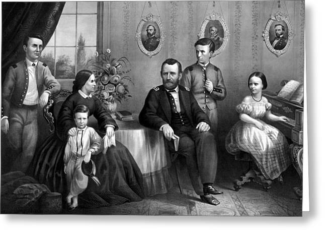 General Ulysses Grant Greeting Cards - General Grant And His Family Greeting Card by War Is Hell Store