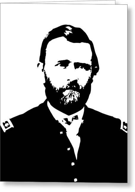 U S Presidents Greeting Cards - General Grant Black and White  Greeting Card by War Is Hell Store
