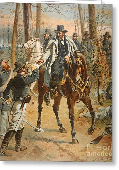 Wounded Greeting Cards - General Grant in the Wilderness Campaign 5th May 1864 Greeting Card by Henry Alexander Ogden