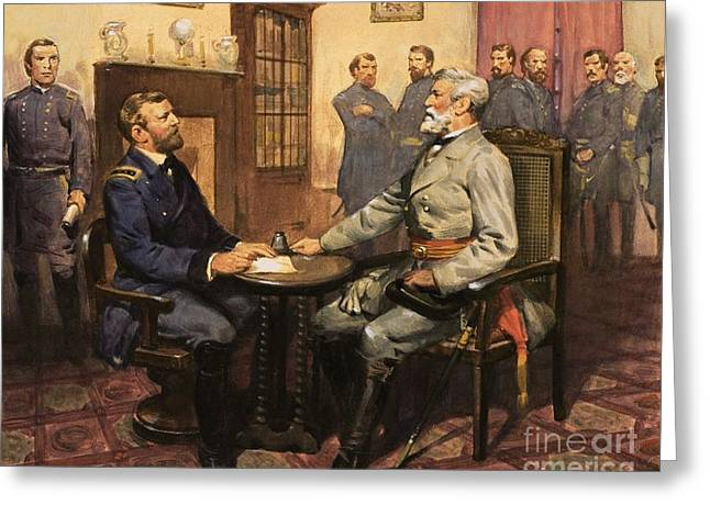 American Flags Greeting Cards - General Grant meets Robert E Lee  Greeting Card by English School