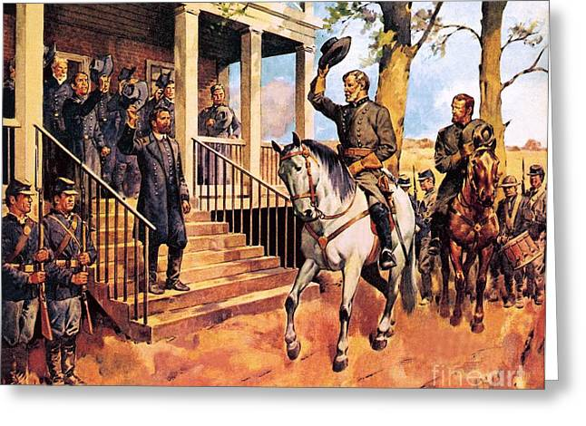 General Lee and his horse 'Traveller' surrenders to General Grant by McConnell Greeting Card by James Edwin