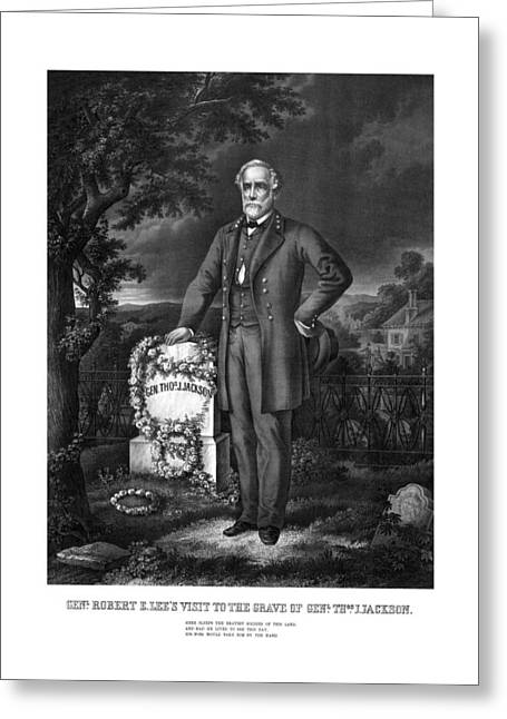 American Civil War Drawings Greeting Cards - General Lee Visits The Grave Of Stonewall Jackson Greeting Card by War Is Hell Store