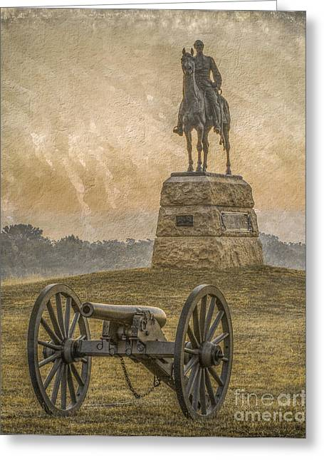 Stone Sentinel Greeting Cards - General Meade Statue and Cannon Gettysburg Greeting Card by Randy Steele