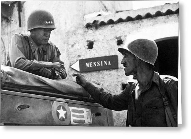 Army Tank Greeting Cards - General Patton In Sicily Greeting Card by War Is Hell Store