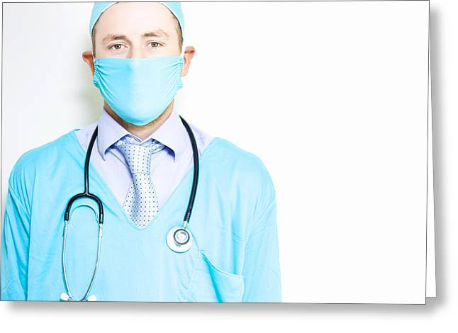 Medication Greeting Cards - General practitioner doctor against hospital wall Greeting Card by Ryan Jorgensen